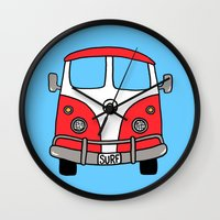 vw bus Wall Clocks featuring VW Bus Red by Cheryl Syminink