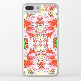 K-196 Abstract Pink Flowers Clear iPhone Case