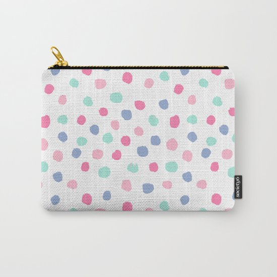 Pastel painted dots pattern minimal mint and pink nursery home decor patterns Carry-All Pouch