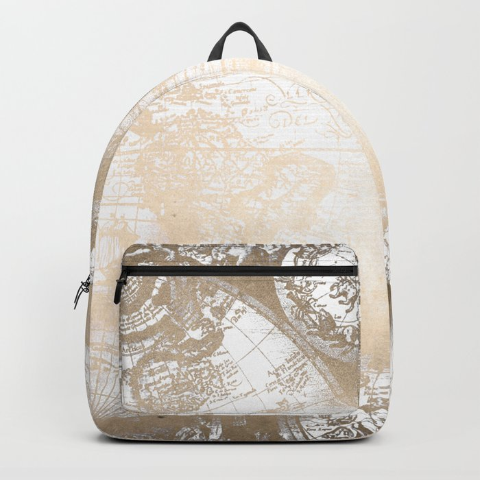 Antique White Gold World Map Backpack
