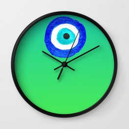 Single Evil Eye Amulet Talisman Ojo Nazar - ombre lime to tuquoise Wall Clock