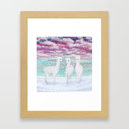 alpacas in the snow Framed Art Print