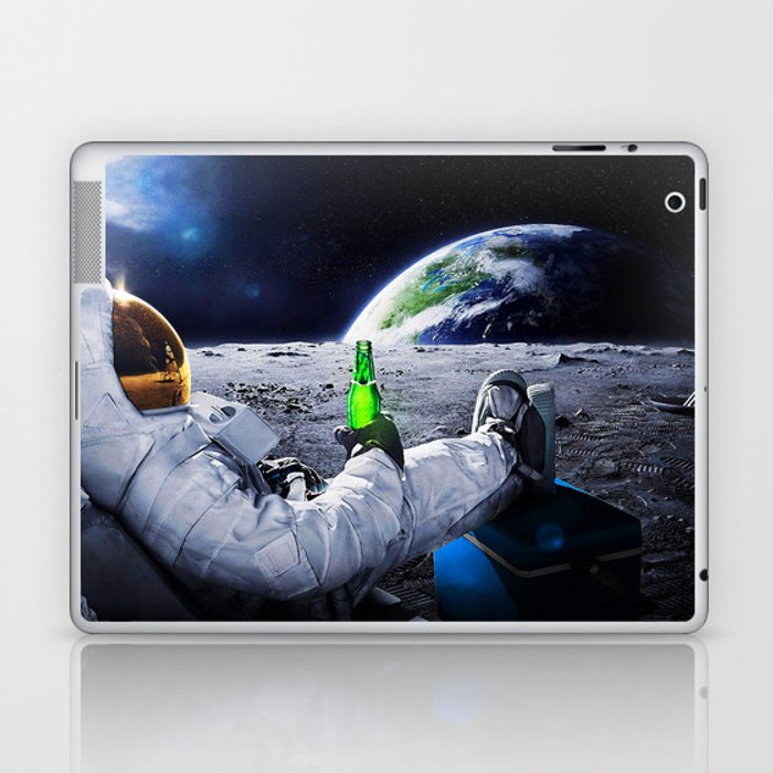 Astronaut on the Moon with beer Laptop & iPad Skin