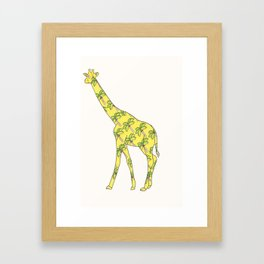 Giraffe Palm Tree Framed Art Print