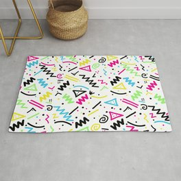 Retro 80's 90's Neon Pink Green Blue Yellow Doodle Rug