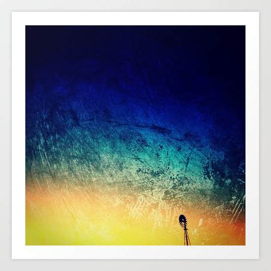 Sunset with Windmill Art Print
