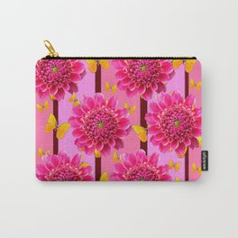 SHADES OF PINK DAHLIAS YELLOW BUTTERFLIES Carry-All Pouch