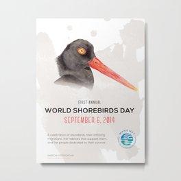 World Shorebird Day Poster-American Oystercatcher Metal Print