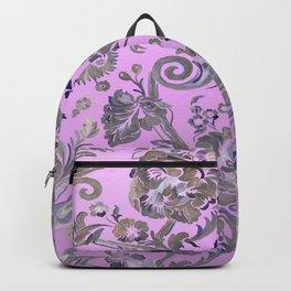 Painted Tibetan Brocade rose pink Backpack