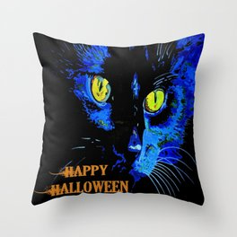 Black Cat Portrait with Happy Halloween Greeting  Throw Pillow
