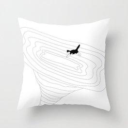 Cat jump in the tornado Throw Pillow