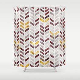 Modern Herringbone Chevron Pattern Painting Shower Curtain