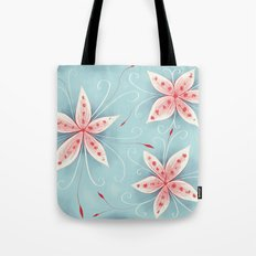 Beautiful Abstract Flowers In Red And White Tote Bag