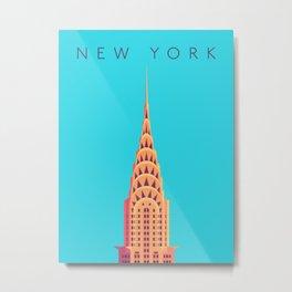 New York Art Deco Building Minimal - Text Cyan Metal Print