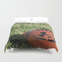 football Duvet Covers featuring Football by Images by Danielle
