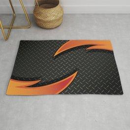Red/Orange Metal Razor on Dark Diamond Plate Abstract Rug