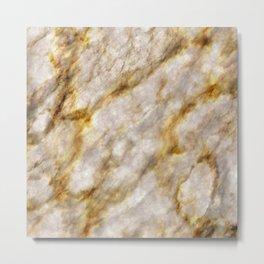 Gold Streaked Marble Metal Print