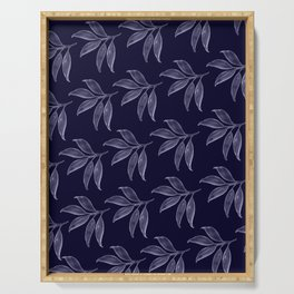 White Leaves on Indigo Background Serving Tray