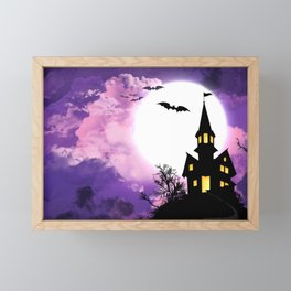Creepy Halloween Haunted Castle With Bats At Full Moon Ultra HD Framed Mini Art Print
