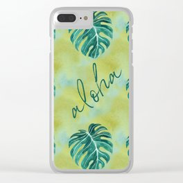 Tropical aloha monstera leaves on yellow green washed watercolor Clear iPhone Case