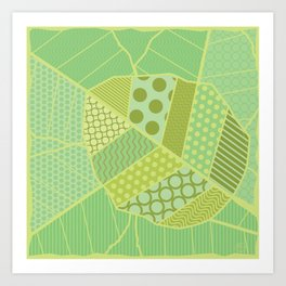 The Unique One (Green Patterned Leaf Patchwork) Art Print
