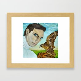 """""""Peale's (Peregrine) Falcon and the Portrait of a Man"""". Framed Art Print"""