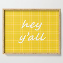 hey y'all - yellow Serving Tray