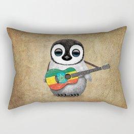 Baby Penguin Playing Ethiopian Flag Acoustic Guitar Rectangular Pillow