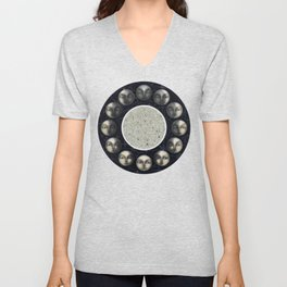 the moon's cycle and lines and dots Unisex V-Neck
