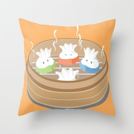 Steamy Dumplings Throw Pillow