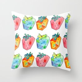 Difference Is Not Wrong watercolor painting strawberry illustration fruits nursery kitchen Throw Pillow