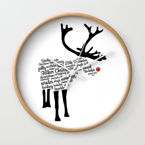 Rudolph Typography Wall Clock