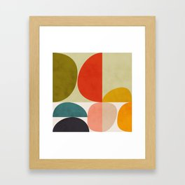 shapes of mid century geometry art Framed Art Print