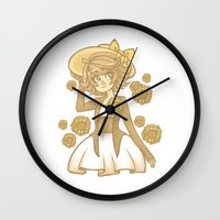 dangan ronpa Wall Clocks featuring Sunflowers by bitterkiwi