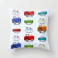 cars Throw Pillows featuring Cars by Alapapaju