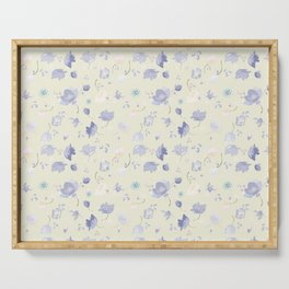 Pastel Watercolor Flowers on yellow background Serving Tray