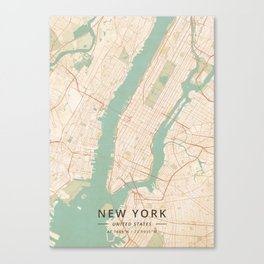 New York, United States - Vintage Map Canvas Print