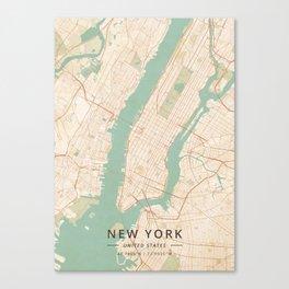 New York, United States - Vintage Map Canvas Print