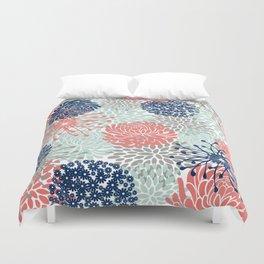 Floral Print - Coral Pink, Pale Aqua Blue, Gray, Navy Duvet Cover