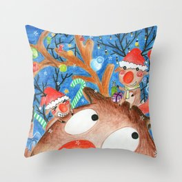 Christmas Elk 聖誕麋鹿 Throw Pillow