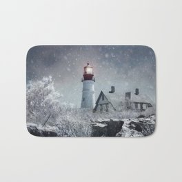 New England Winter Lighthouse Bath Mat
