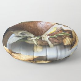 Burger with tiny pickled on food photography Floor Pillow