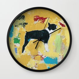 Boston Terrier Painting Art Wall Clock