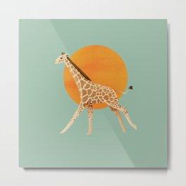Giraffe and Sun Metal Print