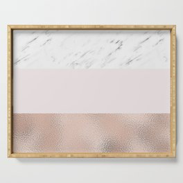 Pastel striping - rose gold marble Serving Tray