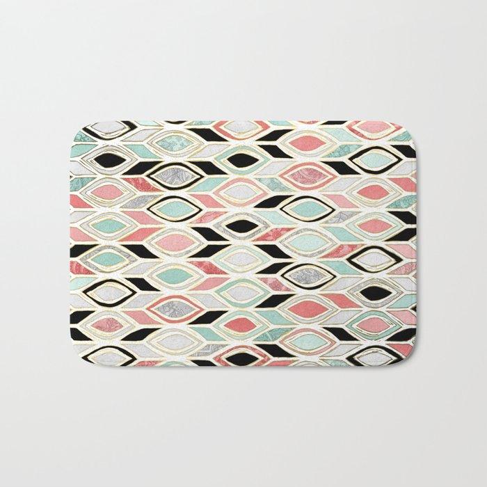 Patchwork Pattern in Coral, Mint, Black & White Bath Mat