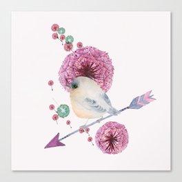 Cute Bird and Dandelion Canvas Print