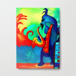 Blue Dragon Plays the Saxophone and Blows Fire with piano keys Metal Print