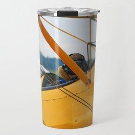Oldtimer yellow plane Travel Mug