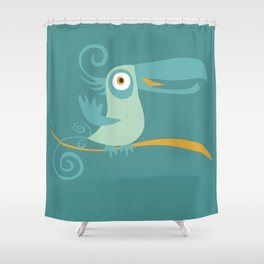 Mid Century Modern Tropical Toucan Tiki Bird Shower Curtain